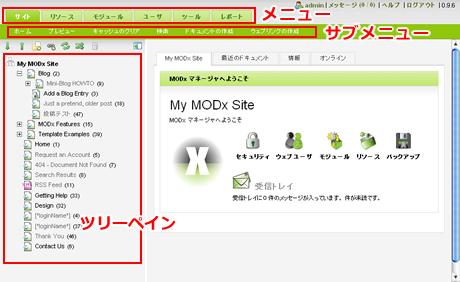 画面キャプチャ・MODx管理画面