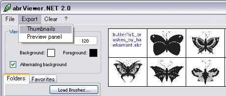 キャプチャ・「abrViewer」へブラシファイルを読み込み「Export」>「thumbnail」をクリック